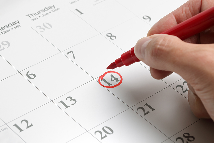 Red circle marked on a calendar concept for an important day
